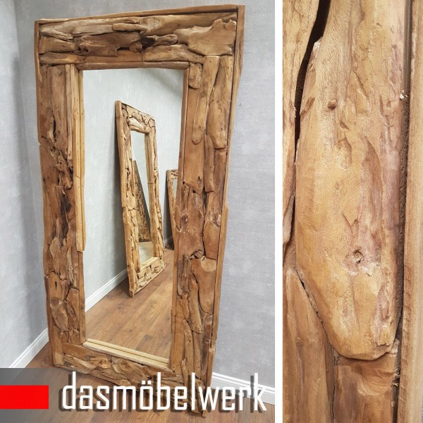 XXL Wandspiegel Spiegel Wurzel Teak Massiv Holz Rahmen 180 cm