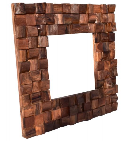 dasmöbelwerk Massiver Teakholz Spiegel Mosaik Teak Wandspiegel Badspiegel Massivholz 60x60cm