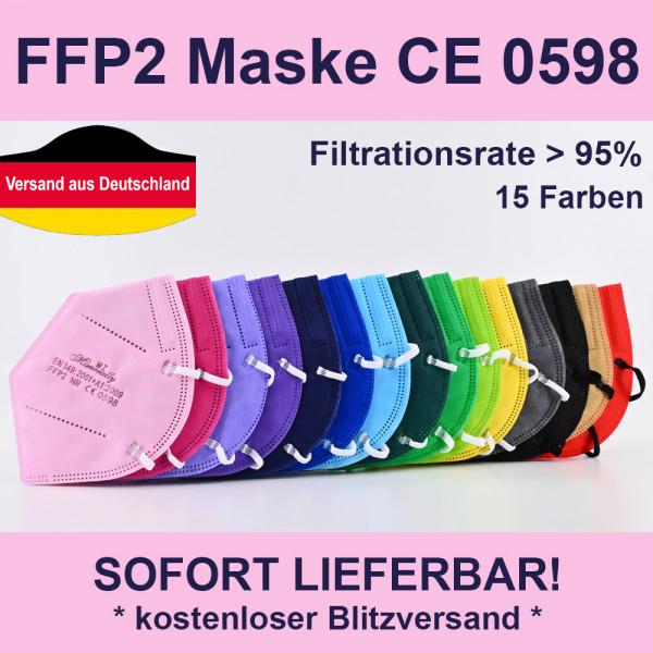 5 Stk 5 Stück FFP2 Maske 5-lagig CE 0598 Mundschutz in 15 Farben