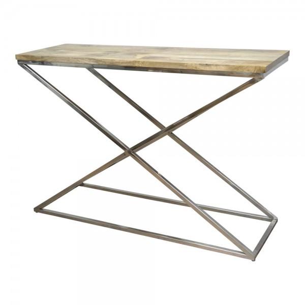 Konsolentisch AF7005W Konsole Beistelltisch Tisch Mangoholz Industrial Vintage Chrom