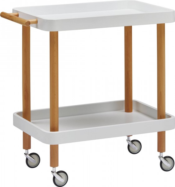 dasmöbelwerk Beistelltisch Servierwagen Küchenwagen mit Rollen BILL Weiß
