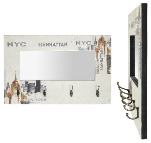 HAKU Wand-Garderobe Vintage Flurgarderobe Manhatten 4 Doppel-Haken Spiegel 80 cm