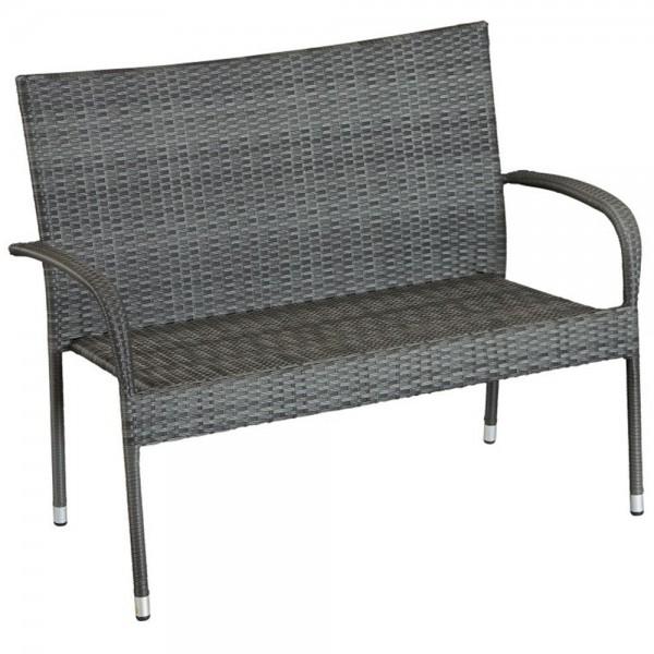 dasmöbelwerk Polyrattan 2er-Gartenbank Gartenmöbel Sitz-Bank stapelbar IBIZA Grau meliert