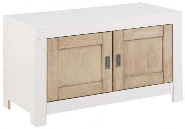 Garderoben Bank FSC®-zertifiziert Massiv Holz weiß mit 2 Türen 57704