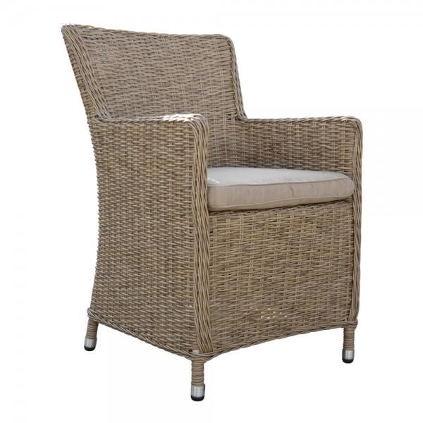 dasmöbelwerk Polyrattan Stuhl Garten-Dining-Sessel Gartenmöbel-Set MADRID Coffee