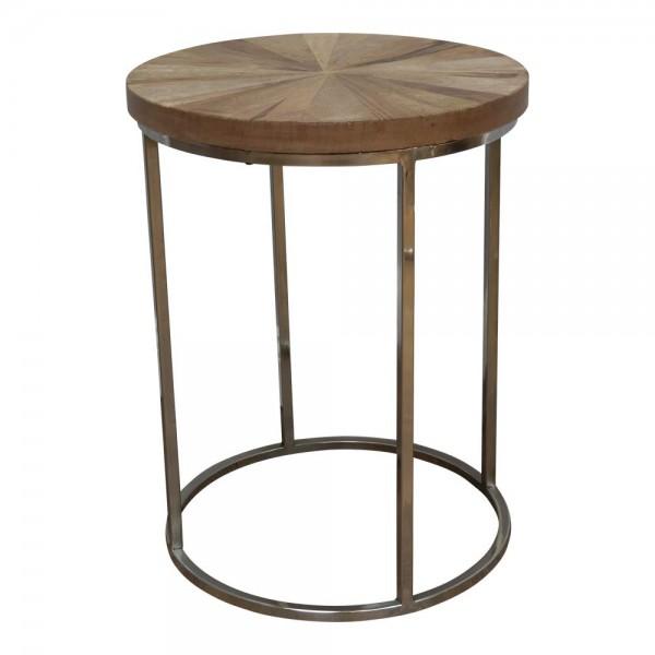 Beistelltisch AF7537 klein Nachttisch Kaffeetisch Massiv Holz Industrial Vintage Chrom