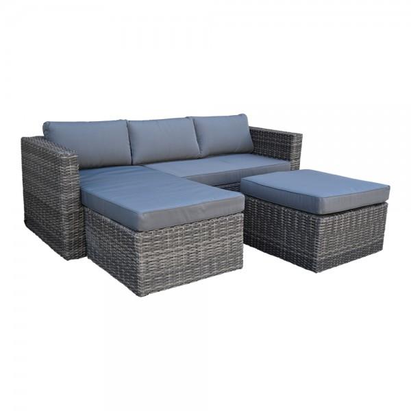 Chaise Lounge Bari Sitzgarnitur Gartenmöbel Sofa Polyrattan Tisch Hocker Grau