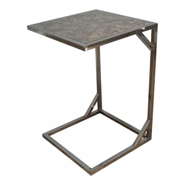 Beistelltisch AF9032 groß Nachttisch Kaffeetisch Holz Industrial Vintage Chrom