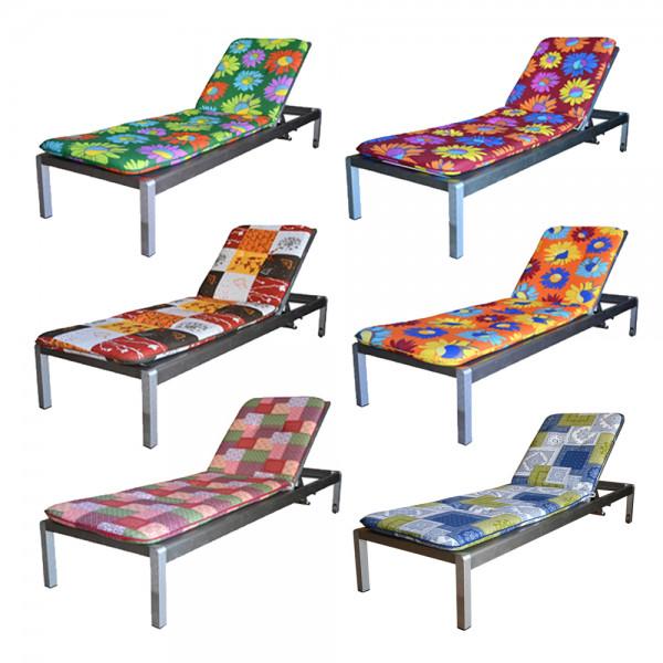 Best Freizeitmöbel Gartenmöbel Liegestuhl Sonnen-Garten-Liege Rollliege Kissen Stuhlauflage 6 cm