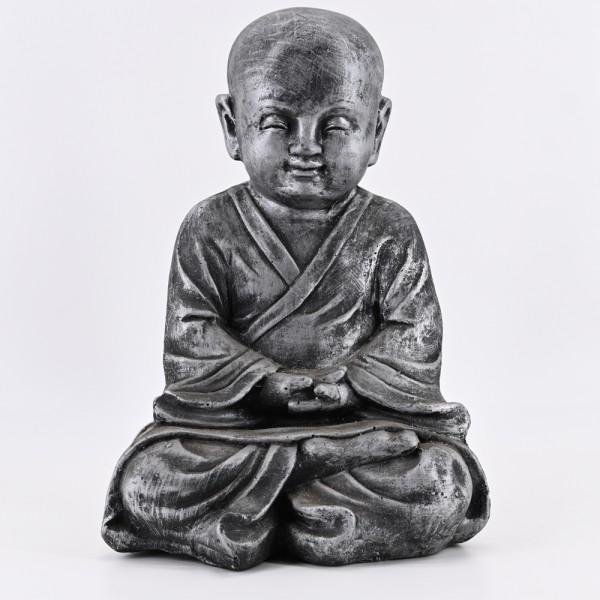 dasmöbelwerk Buddha Statue Garten Deko Figur Skulptur Feng Shui Asia Mönch Meditation sitzend 43 cm