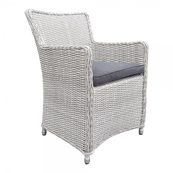 LILIE Silber Grau Sessel Polster Stuhl Möbel Poly Rattan Garten Dining Chair