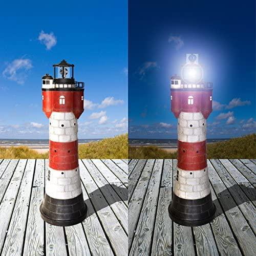 XXL Solar Leuchtturm Strandlicht ROTER SAND rotierendes LED Leuchtfeuer 108 cm