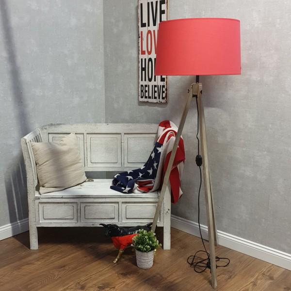 dasmöbelwerk Tripod Stehlampe Landhaus Leuchte Lampenschirm rot Dreibein dimmbar E27