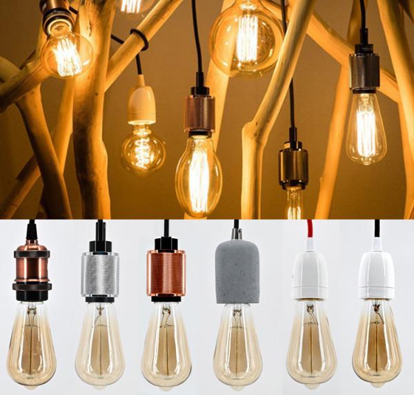 Lampen Fassung E27 Vintage Lampensockel Metall Nostalgie Retro Pendelleuchte