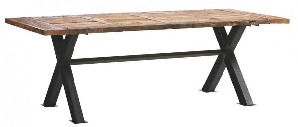 dasmöbelwerk Esstisch im Industrial-Stil Massiv Holz Ulme Metall 180-230 cm