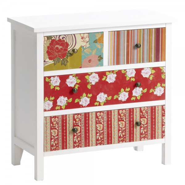 Schubladen Kommode Retro Design Patchwork Look 07.103.01