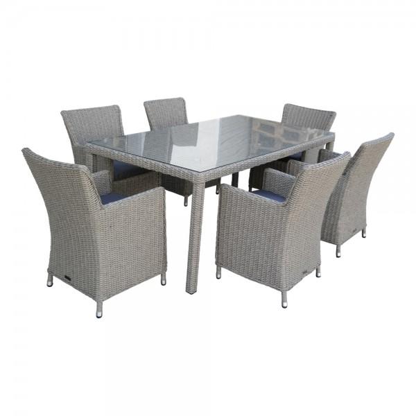 dasmöbelwerk Polyrattan Sitzgruppe Gartenset mit Gartentisch Madrid 180/200 cm Grau