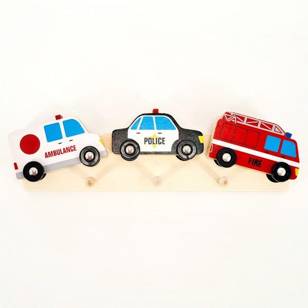 Bunte Kinder-Garderobe Holz Hakenleiste Kinderzimmer Wand Haken Autos Feuerwehr