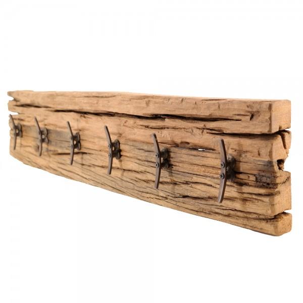 dasmöbelwerk Wand Garderobe Hakenleiste massiv Teak Treib-Holz Wandpaneel 6 Haken