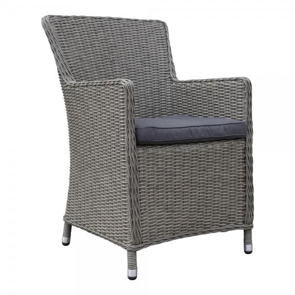 dasmöbelwerk Polyrattan Stuhl Garten-Dining-Sessel Gartenmöbel MADRID Grau