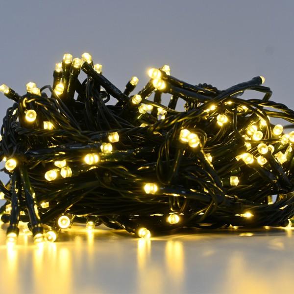 LED Lichterkette Advent Weihnachten Innen- und Außen warmweiß 204 Lampen 16 m