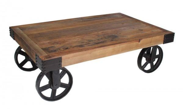 Couchtisch 02.061.03 im Industrielook Metall Holz Natur 110 cm Loft Massiv Rollen