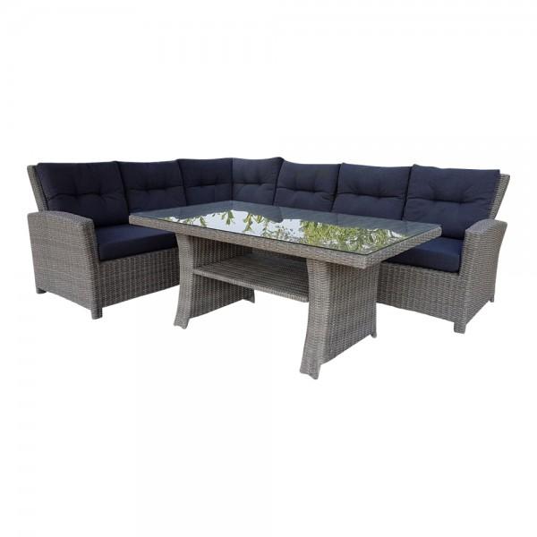 FLORENZ Eck Lounge Grau Sitzgarnitur Garten Möbel Grau Poly Rattan