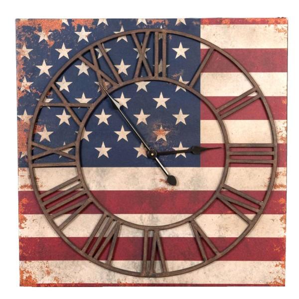 Clayre & Eef Uhr auf Leinwand Wanduhr Vintage USA Design Retro Shabby 70 cm