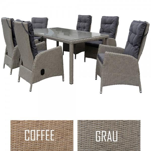 dasmöbelwerk Polyrattan Sitzgruppe Gartentisch 180/200 cm PISA 2 Farben