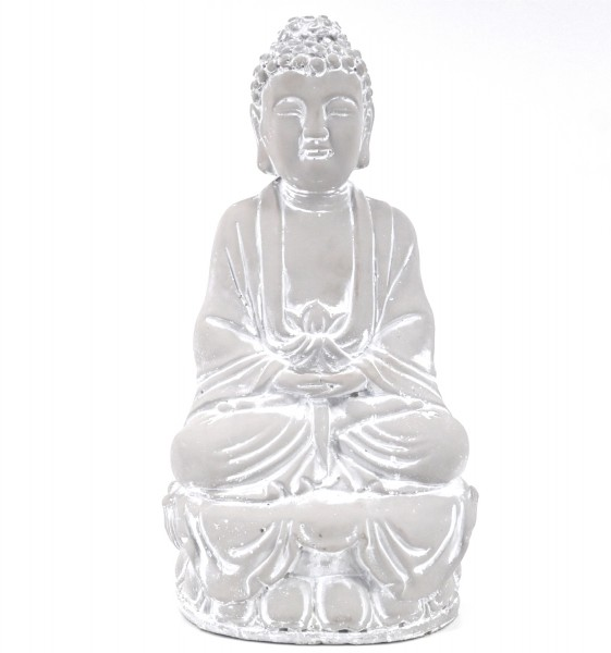 dasmöbelwerk Garten Deko Figur Buddha Statue sitzend Meditation Feng Shui Grau H 36 cm