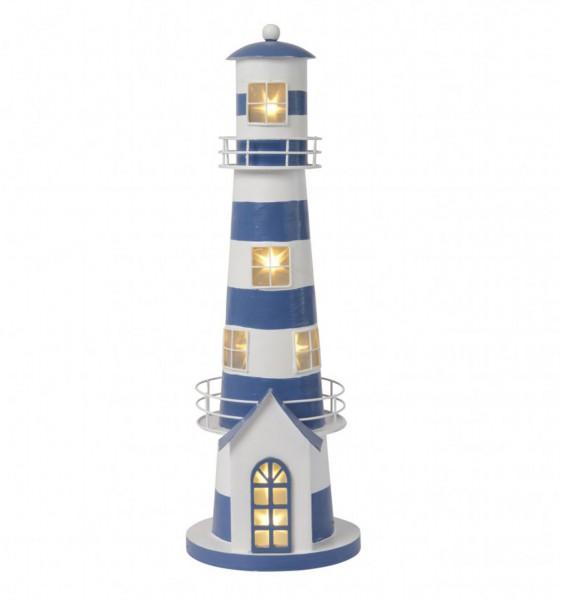 LUMINEO Leuchtturm Strandlicht Leuchtfeuer Windlicht maritim Metall Blau-Weiß