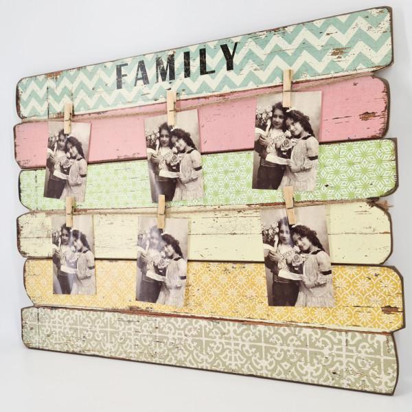 dasmöbelwerk FAMILY Memoboard Wandschild Bild Leinen auf Holzrahmen + 6 Klammern B71 cm