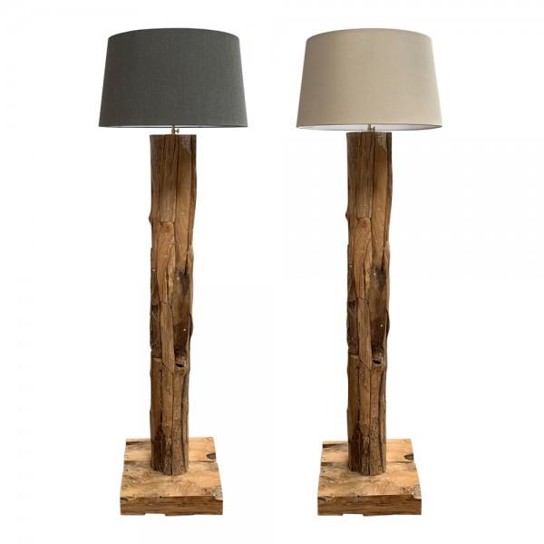 dasmöbelwerk Teak Lampe massiv Stehlampe mit Lampenschirm H167-179 cm ROUND