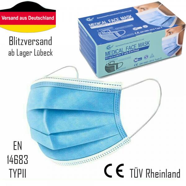 50x SUNSMED Medizinischer Mundschutz OP-Maske 3-lagig EN14683 TYPII CE Zertifkat
