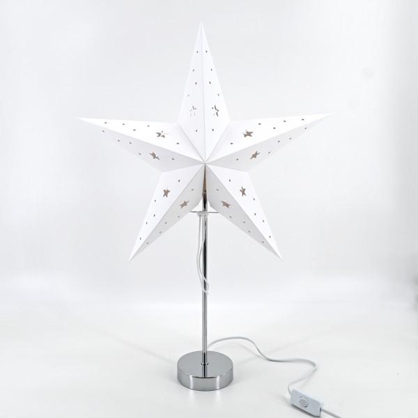 Weihnachtsstern Dekostern Fensterstern Stern weiß Papierstern stehend E14