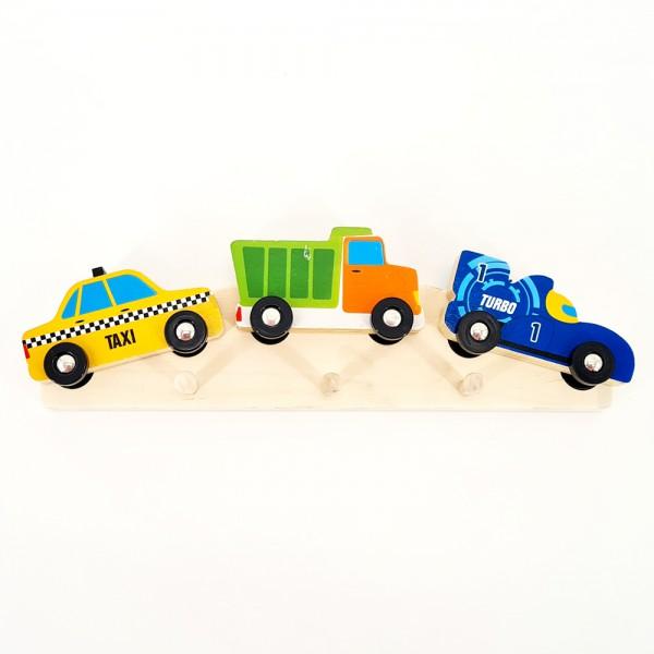 Bunte Kinder-Garderobe Holz Hakenleiste Kinderzimmer Wand Haken Autos Rennwagen