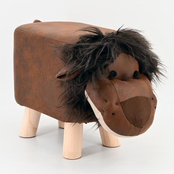 Tierhocker Stoff Holzbeine Deko Hocker Kinderhocker Tiere Kinder Löwe braun