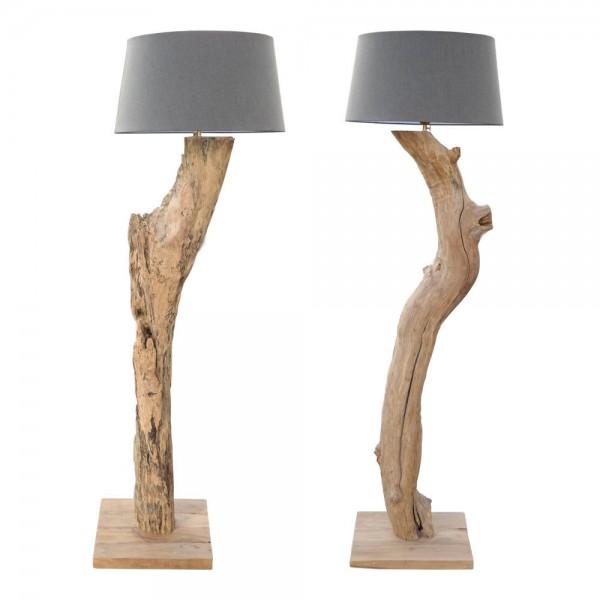 XXL Stehlampe NEW Grau Leuchte massiv Teak Wurzel Holz Lampe Schirm