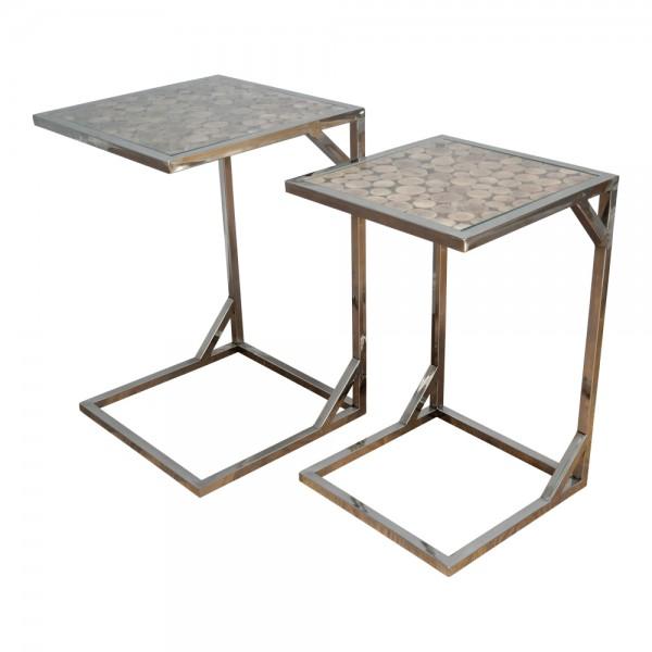 dasmöbelwerk Beistelltisch Satztisch Tisch Chrom mit Baumscheiben AF9032