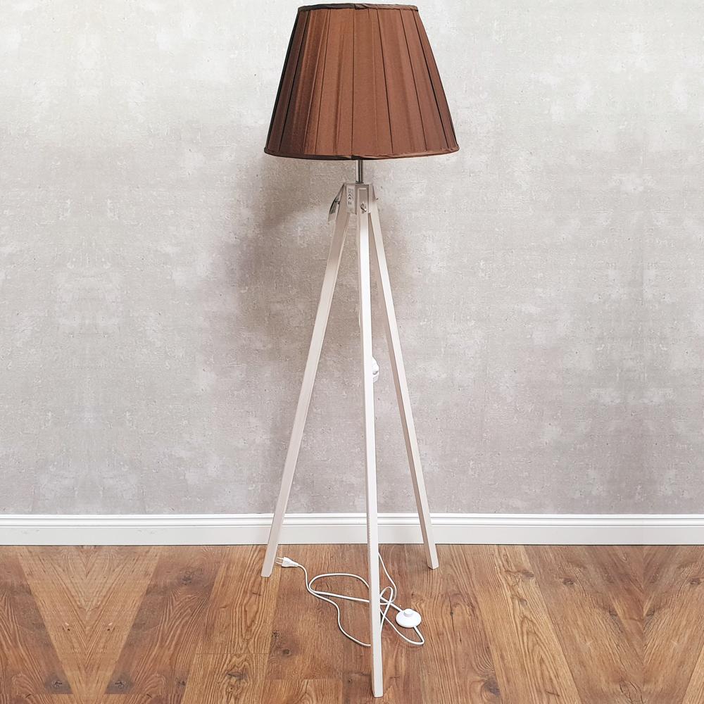 Dasmobelwerk Tripod Stehlampe Landhaus Leuchte Lampenschirm Dreibein Dimmbar E27 Sadaelomma Com