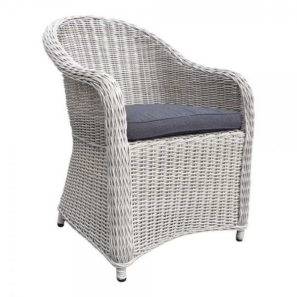 PANAMA Silber Grau Sessel Polster Stuhl Möbel Poly Rattan Garten Dining Chair