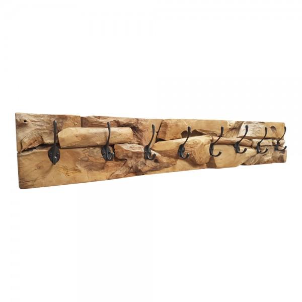 XXL Wand Garderobe Hakenleiste massiv Teak Holz Wandpaneel 8 Haken