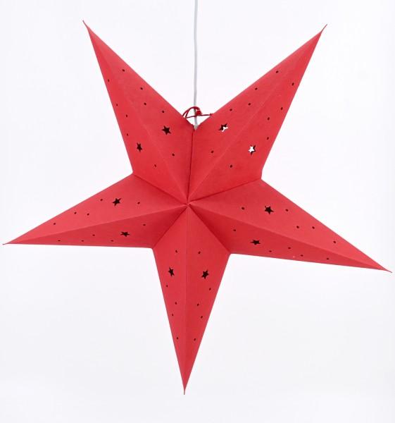 Weihnachtsstern Dekostern Fensterstern Stern rot Papierstern hängend E14 60 cm