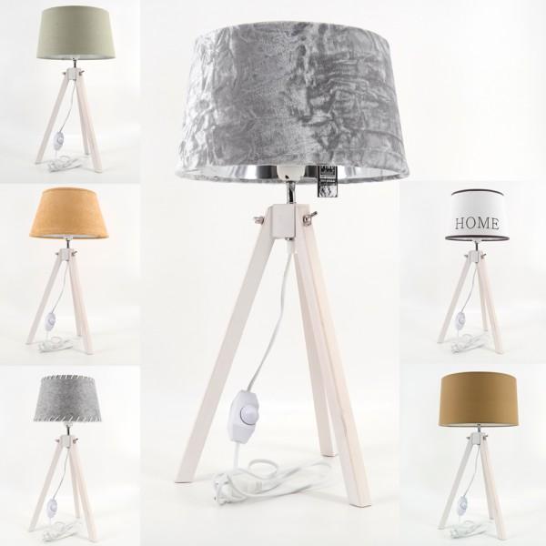 dasmöbelwerk LED Landhaus Tripod Tischlampe Stativ Deko Leuchte Dreibein Lampe dimmbar E27