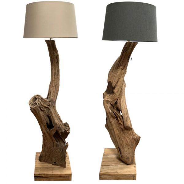dasmöbelwerk Teak Lampe massiv Stehlampe mit Lampenschirm H167-179 cm BALI