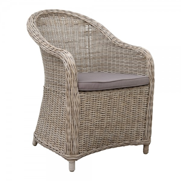 Miami Cappuccino Sessel Polster Stuhl Möbel Poly Rattan Garten Dining Chair
