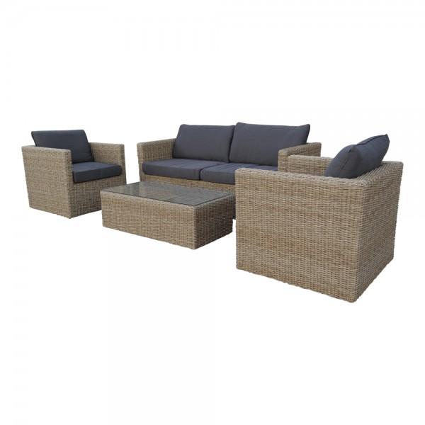 Lounge Lima Sitzgarnitur Gartenmöbel Sofa Polyrattan mit Tisch Cap