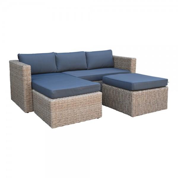 Chaise Lounge Bari Sitzgarnitur Gartenmöbel Sofa Polyrattan Tisch Hocker Cap