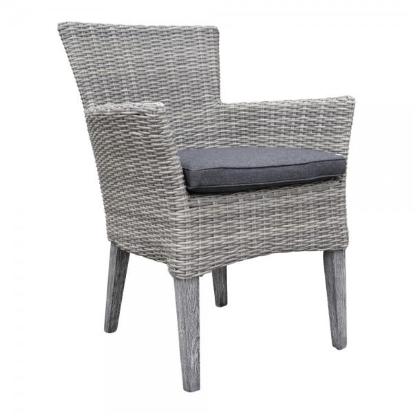 dasmöbelwerk Polyrattan Gartensessel Sessel Essstuhl Akazie mit Polster