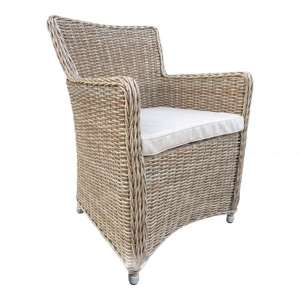 LILIE Cappuccino Sessel Polster Stuhl Möbel Poly Rattan Garten Dining Chair